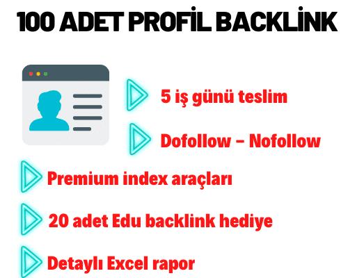100 ADET PROFİL BACKLİNK.
