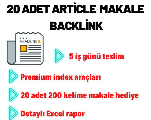 20 ADET ARTİCLE MAKALE BACKLİNK